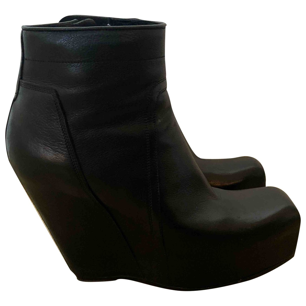 Rick Owens \N Black Leather Ankle boots for Women 39 EU