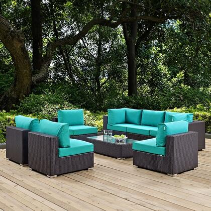 Convene EEI2205EXPTRQSET 8 PC Outdoor Patio Sectional with 2 Corner Chairs + 5 Armless Chairs + Coffee Table in Espresso and Turquoise
