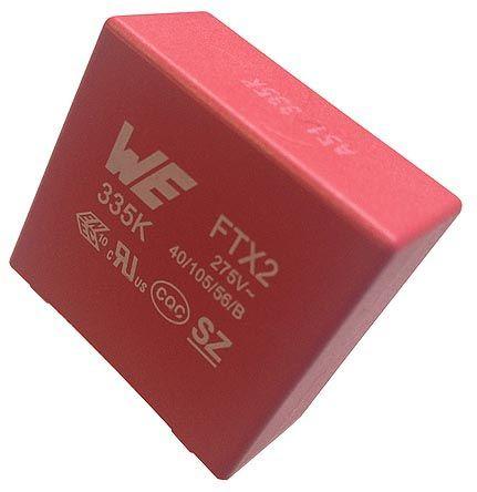 Wurth Elektronik 100nF Polypropylene Capacitor PP 275V ac ±10% Tolerance Through Hole WCAP-FTX2 Series (10)