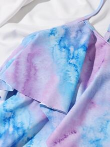 Tie Dye Ruffle High Waisted Bikini Swimsuit