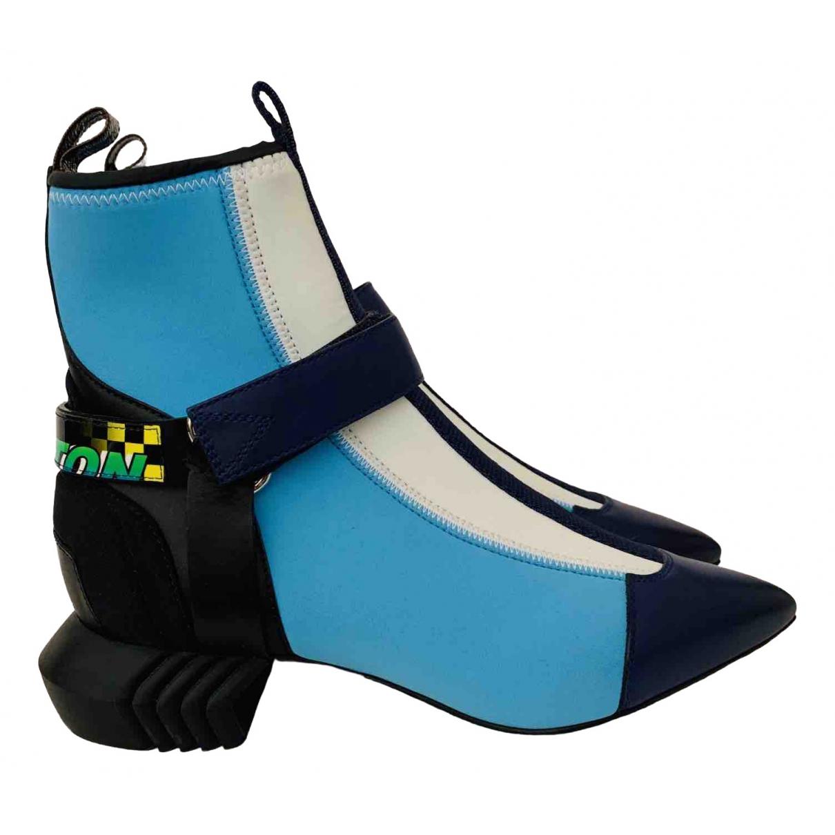 Louis Vuitton - Boots   pour femme en toile - bleu
