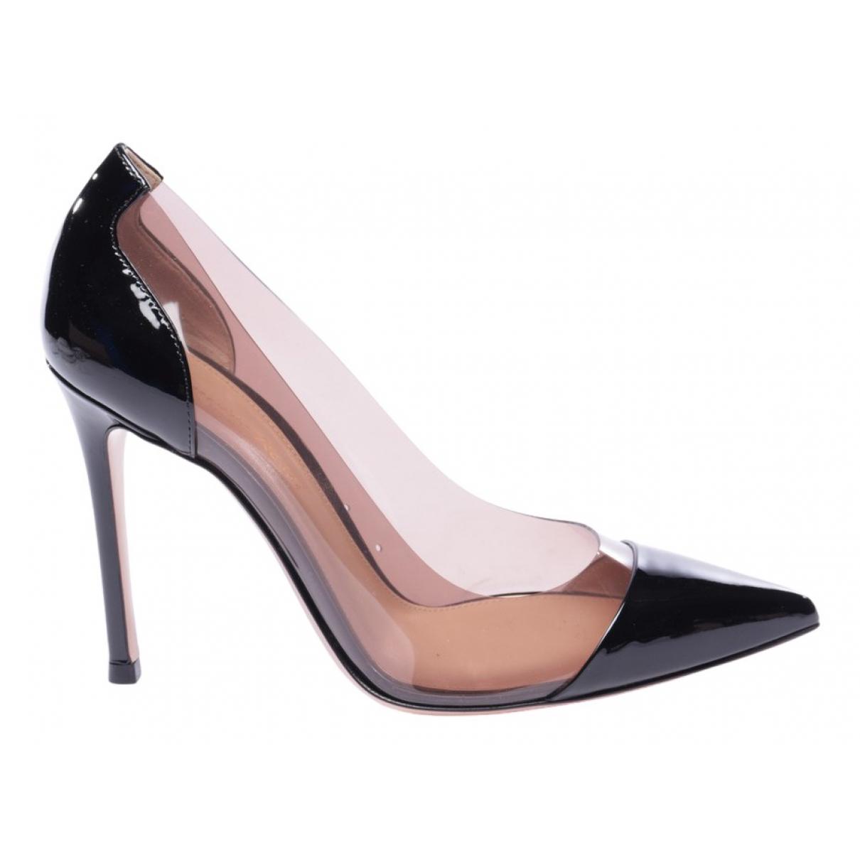 Gianvito Rossi Plexi Black Leather Heels for Women 38.5 EU