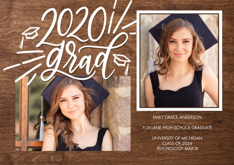 2020 Graduation Announcements 5x7 Cards, Premium Cardstock 120lb with Rounded Corners, Card & Stationery -2020 Grad Simple Script by Tumbalina