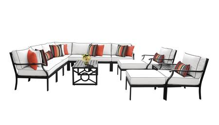 MADISON-13a Kathy Ireland Homes and Gardens Madison Ave. 13 Piece Aluminum Patio Set 13a with 1 Set of Snow