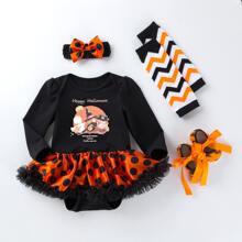 Vestido ajustado con estampado de halloween 4 piezas