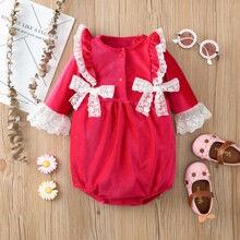 Baby Girl Velvet Contrast Lace Double Bow Bodysuit