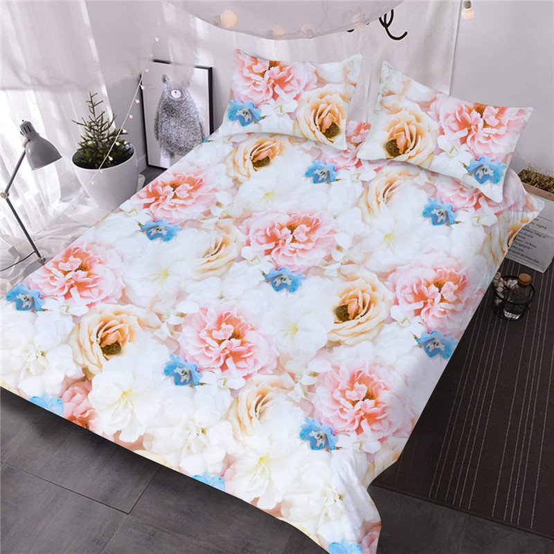 3D Romantic Bouquets of  Roses Lightweight Microfiber Floral for All Seasons Reactive Printing Machine Wash Comforter Set Three-Piece Set Polyester Be