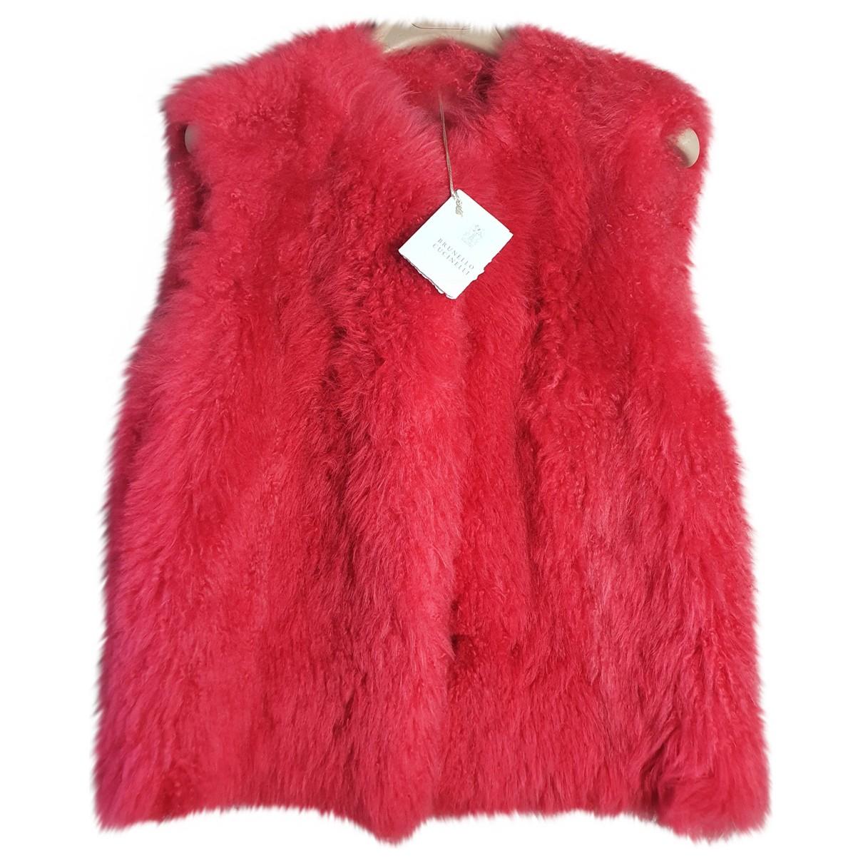 Brunello Cucinelli \N Red Mongolian Lamb Knitwear for Women 42 IT