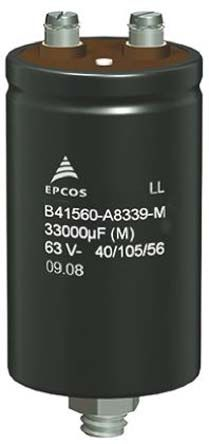 EPCOS 15000μF Electrolytic Capacitor 63V dc, Screw Mount - B41560A8159M000