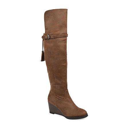 Journee Collection Womens Jezebel Over the Knee Boots Wedge Heel, 10 Medium, Brown