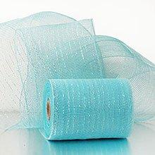 6X20 Yards Sky Blue W/Irdst Deco Mesh W/Mtllc Strp Polypropylene / Cellophane - Wraps Width: 6 Length: 20 yd by Paper Mart