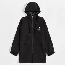 Guys Zip Up Letter Graphic Flap Pocket Front Hooded Coat
