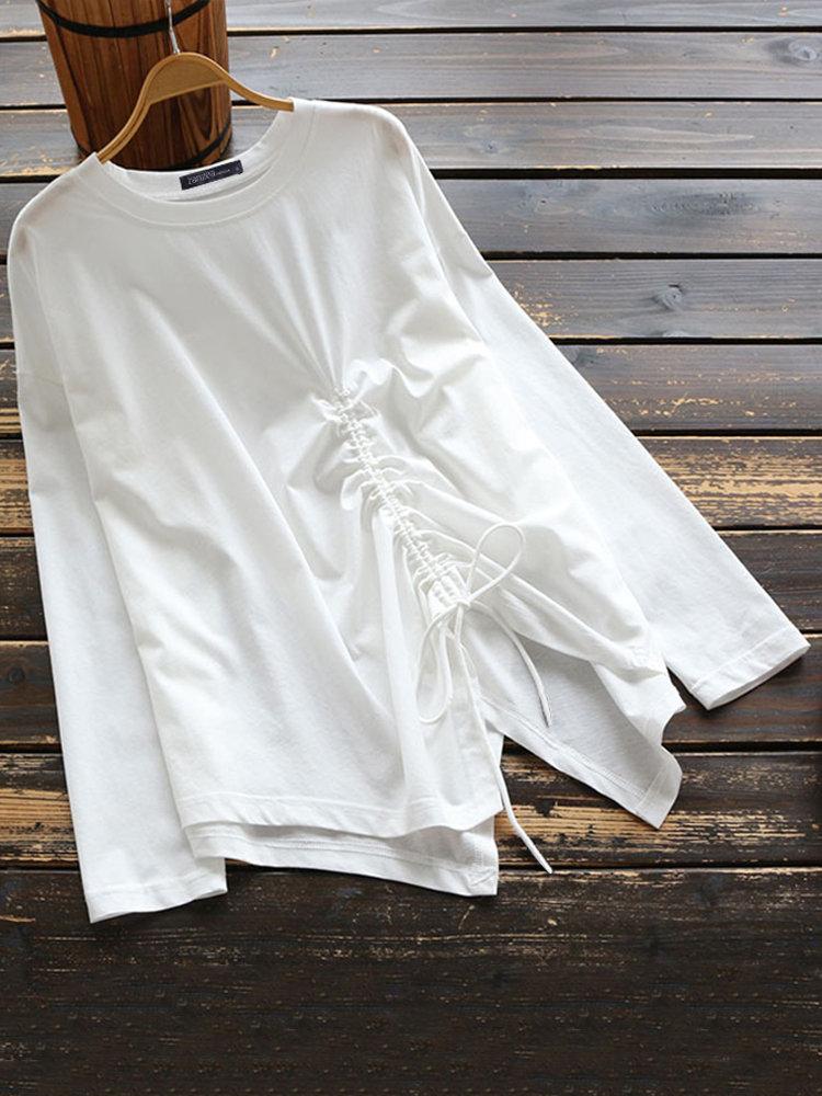 Casual Pure Color Lacing Split Irregular O-neck Long Sleeve Women Shirt