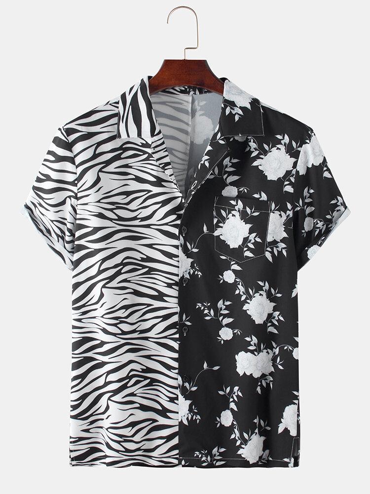 Mens Patchwork Zebra Floral Printed Short Sleeve Shirt
