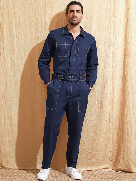 Yoins Men Vintage Fashion Streetwear Casual Multi-pocket Long Sleeve Overalls Jumpsuit