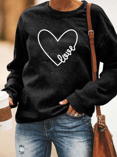 Yoins Black Heart Print Crew Neck Long Sleeves Sweatshirt