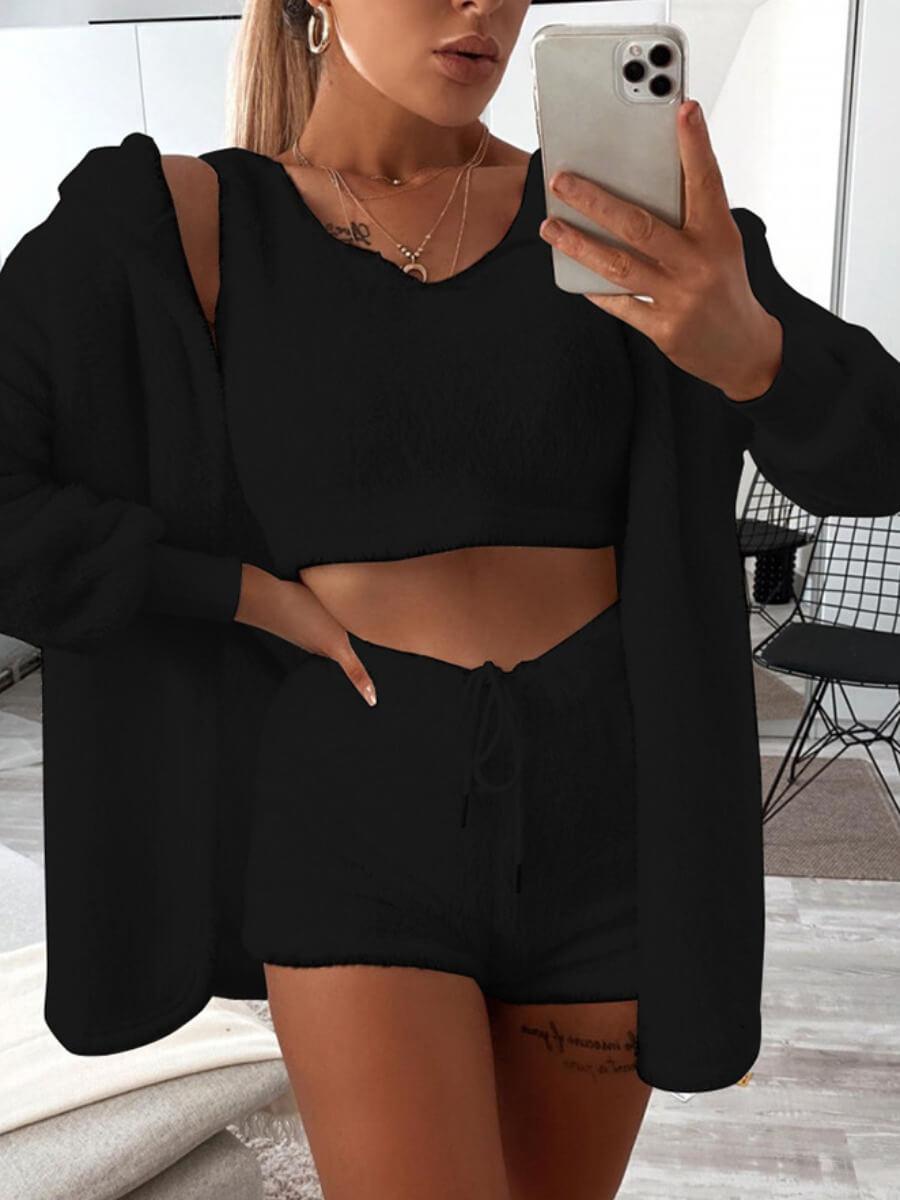 LW Lovely Casual V Neck Skinny Black Sleepwear