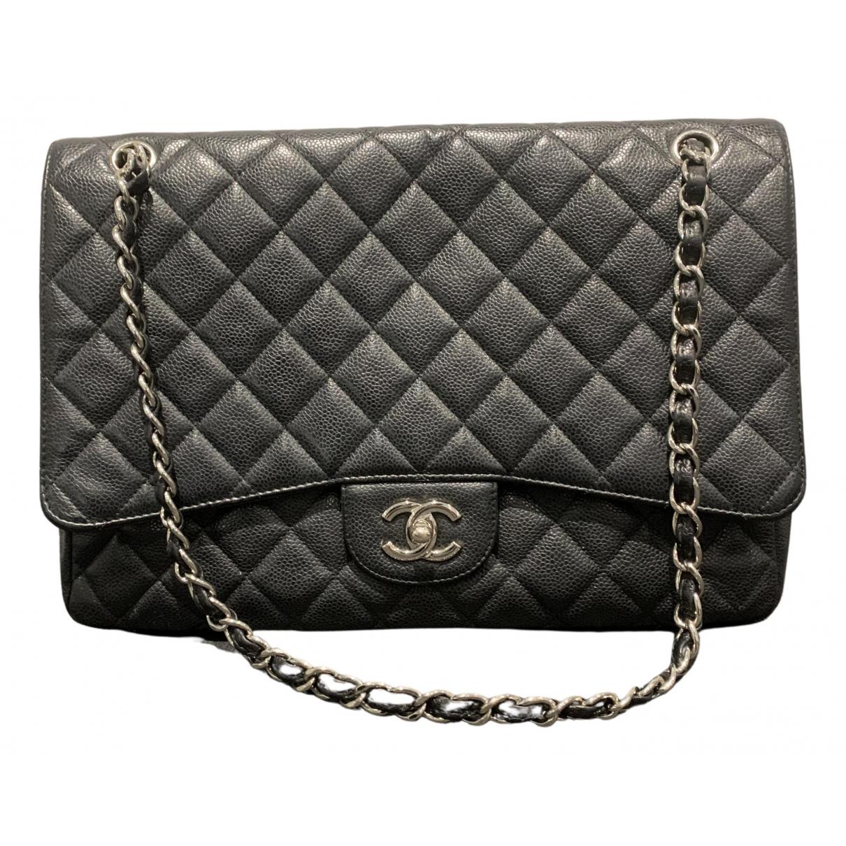 Chanel Timeless/Classique Handtasche in  Schwarz Leder