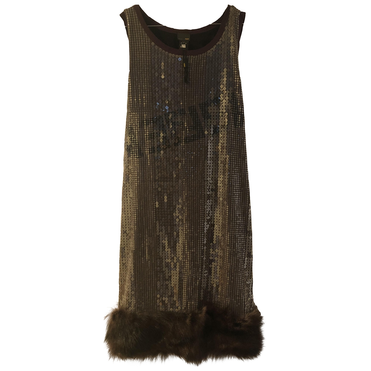 Fendi - Robe   pour femme en fourrure - marron