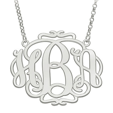 Personalized 31x39mm Scroll Monogram Necklace, One Size , White
