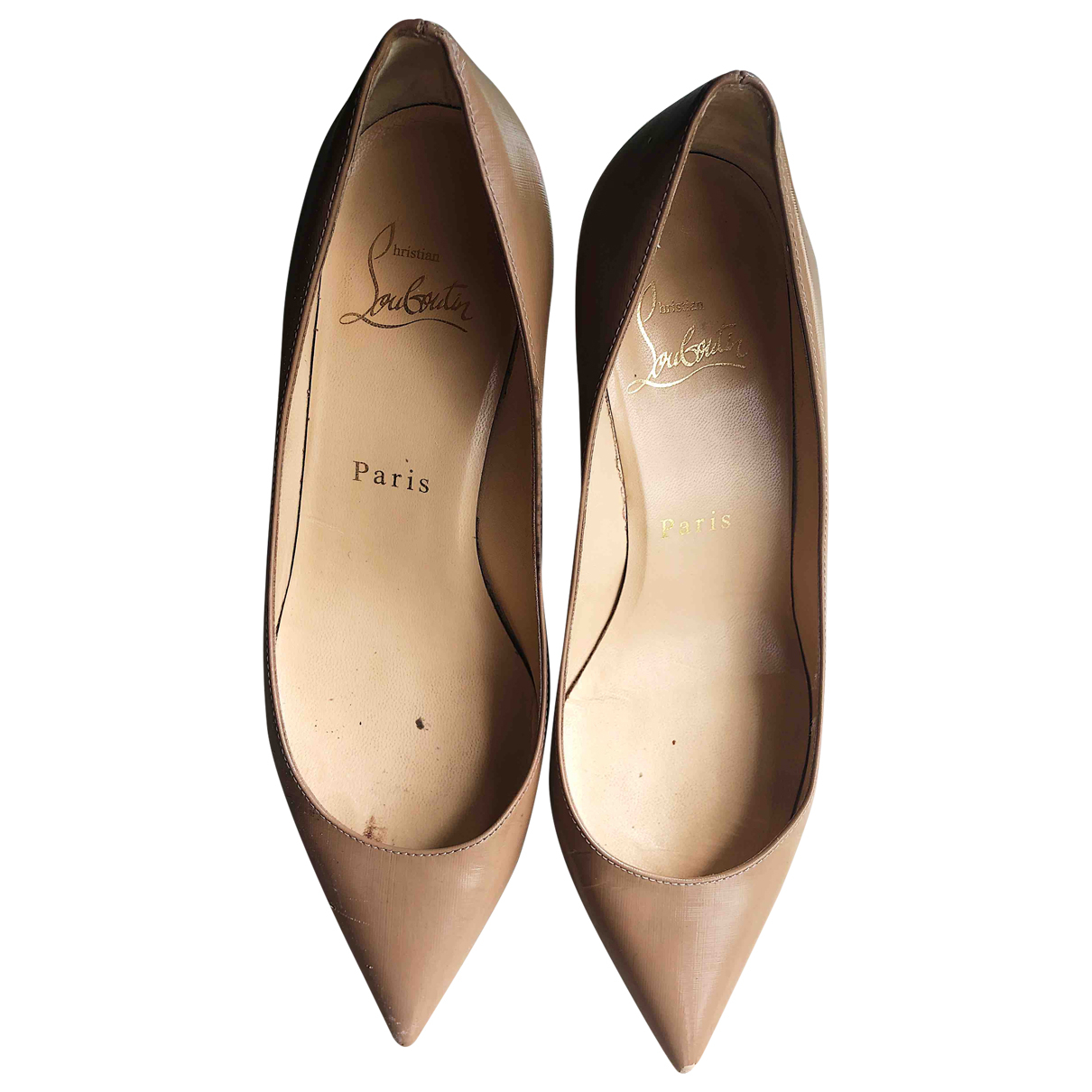 Christian Louboutin Pigalle Beige Leather Heels for Women 35 EU