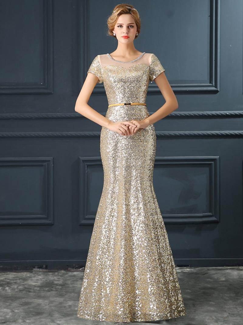 Ericdress Mermaid Scoop Short Sleeves Sequins Long Evening Dress