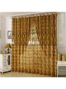 European Style Embroidered Floral Shading and Sheer Curtain Set