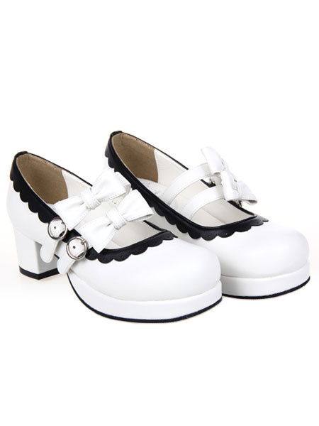 Milanoo Sweet Lolita Square Heels Shoes Platform Straps Bows Buckles White Trim