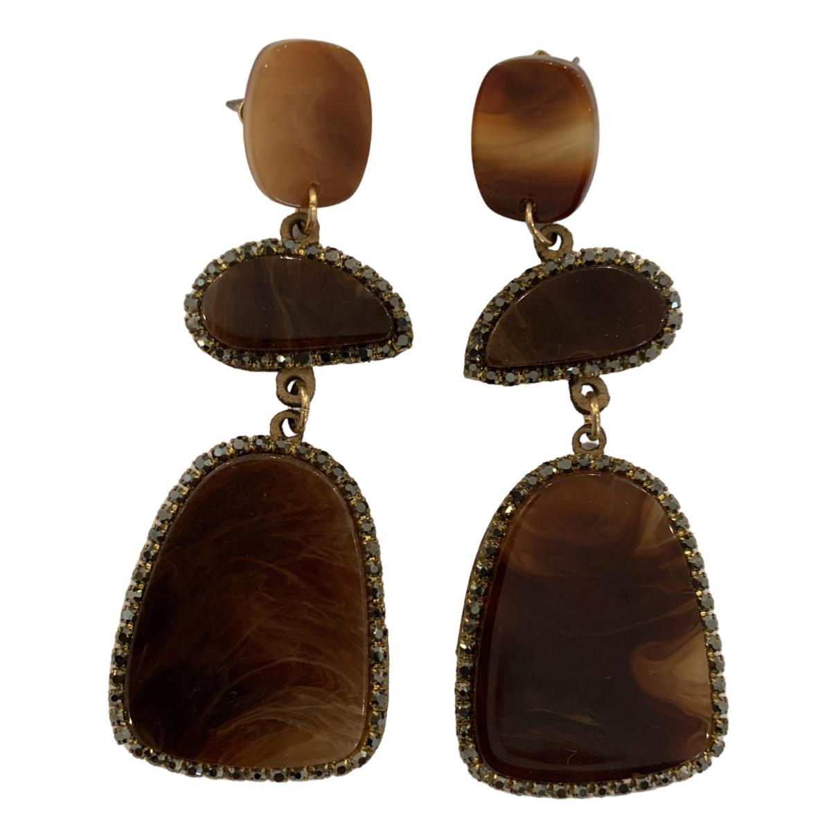 - Boucles doreilles Dormeuses pour femme en bois - marron