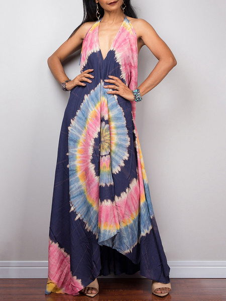 Milanoo Vestido largo azul oscuro  con estampado de flores sin mangas Vestidos de poliester muy escotado por detras con escote halter Verano