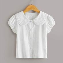 Toddler Girls Lace Trim Peter Pan Collar Button Front Blouse