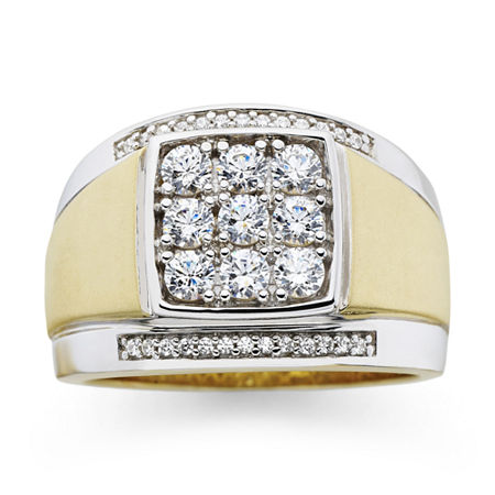 Mens 14K Gold Over Silver Cubic Zirconia Ring, 10 , No Color Family