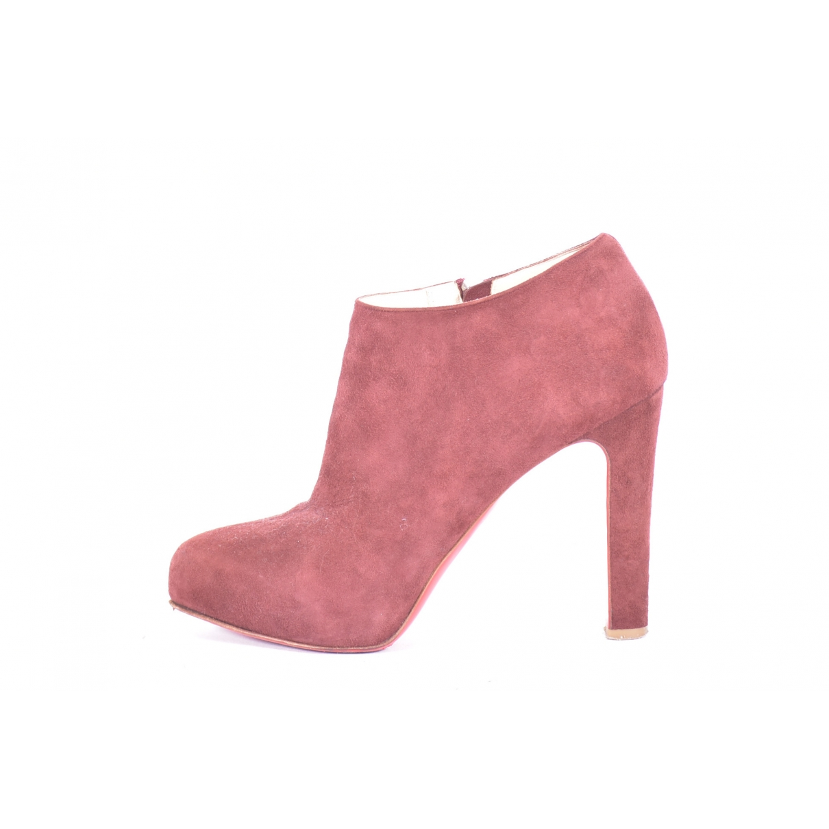 Christian Louboutin \N Burgundy Suede Ankle boots for Women 39.5 EU
