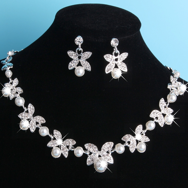 Pearl Inlaid Necklace European Wedding Jewelry Sets