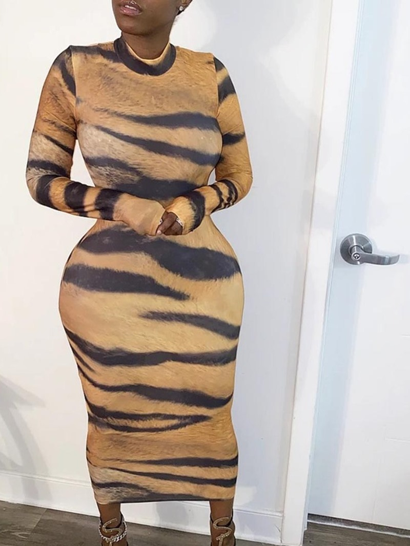 Ericdress Mid-Calf Stand Collar Long Sleeve Sexy Sheath Dress