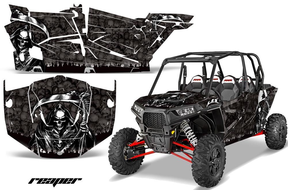 AMR Racing Full Custom UTV Graphics Decal Kit Wrap Reaper Black Polaris RZR XP4 1000 13-18