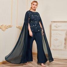 Plus Cloak Sleeve Galaxy Embroidery Jumpsuit