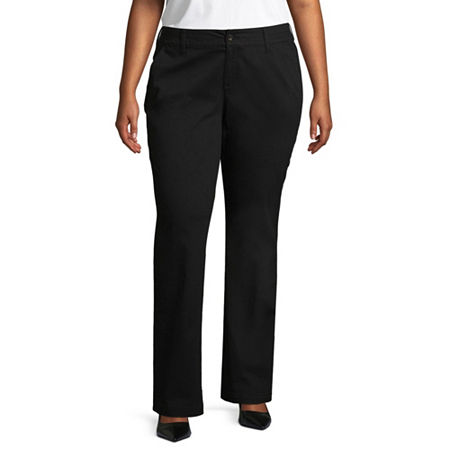 Arizona Schoolgirl Straight Pants - Juniors Plus, 24 Plus , Black