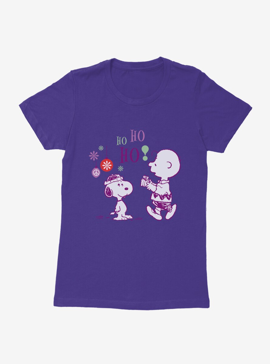 Peanuts Holiday Joy Snoopy And Charlie Womens T-Shirt