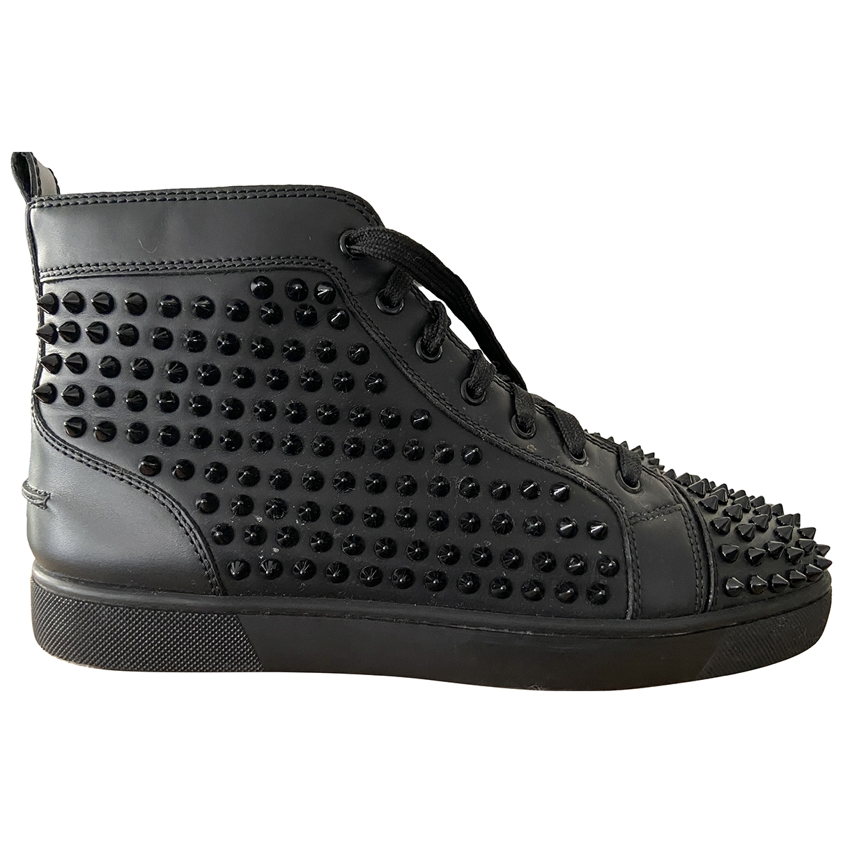 Christian Louboutin Spike Sock Black Leather Trainers for Men 42 EU