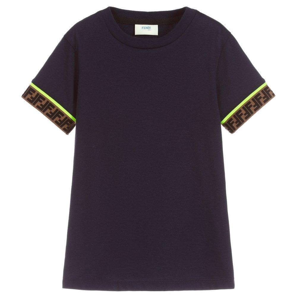 Fendi Kids FF Cuff T-Shirt Colour: NAVY, Size: 12+ YEARS