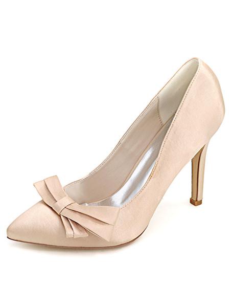 Milanoo Zapatos de novia de saten Zapatos de Fiesta de tacon de stiletto Zapatos azul  Zapatos de boda de puntera puntiaguada 10cm con lazo