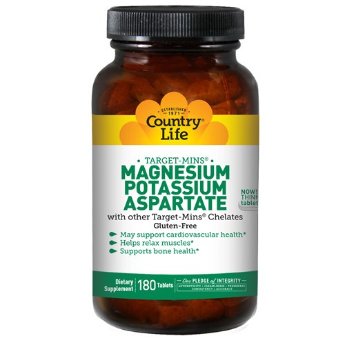 Magnesium - Potassium Aspartate Target-Mins 180 Tabs by Country Life