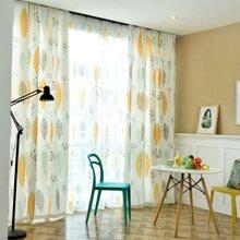 1 Stueck Vorhang mit Blatt Muster