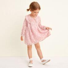 Toddler Girls Half Button Lace Smock Dress