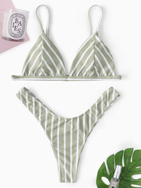 Yoins Stripe Pattern Basic V-neck Triangle Bikini Set