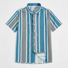 Guys Vertical Striped Button Up Shirt