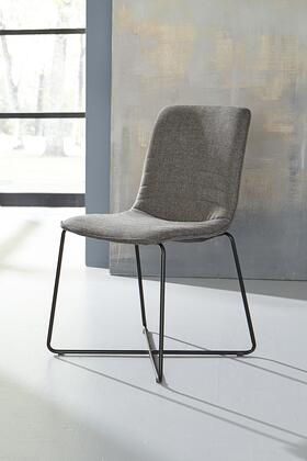 BM187596 Fabric Upholstered Metal Chair with Cross Base Design  Set of 2   Gray and