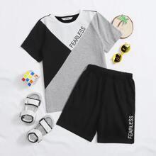 T-Shirt mit Buchstaben Grafik, Farbblock und Track Shorts