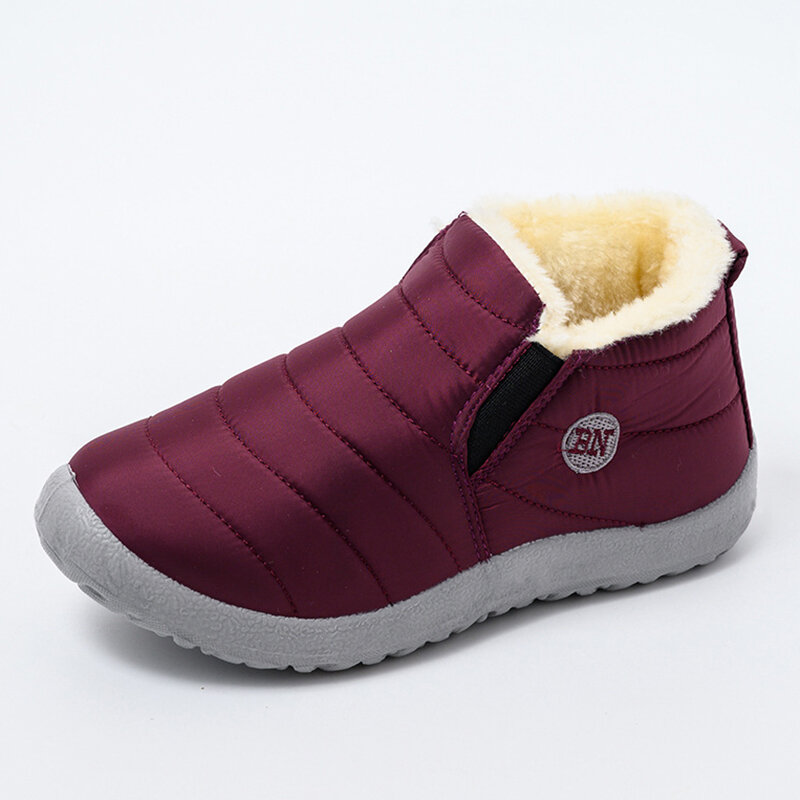 Warm Lining Slip On Lightweight Winter Closed Toe Ankle Womens Snow Boots